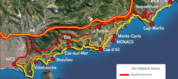 The famous three Corniche Roads of The French Riviera between