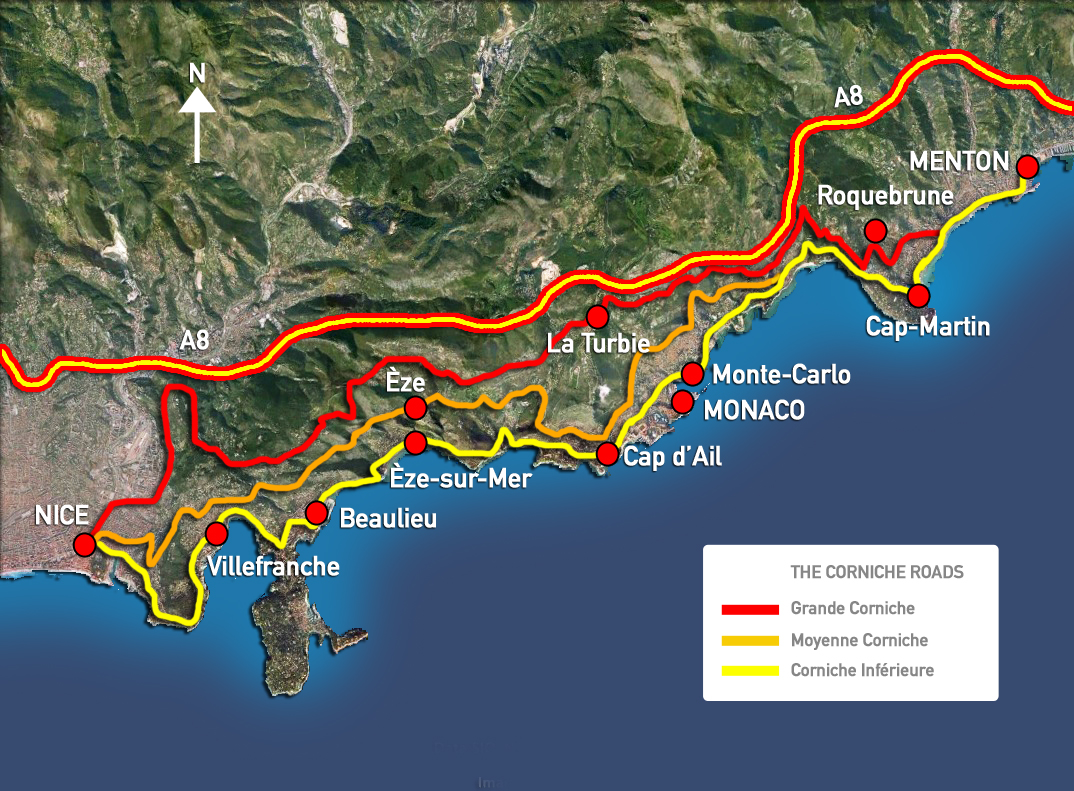 The famous three Corniche Roads of The French Riviera between – Tourist Map Of Nice France